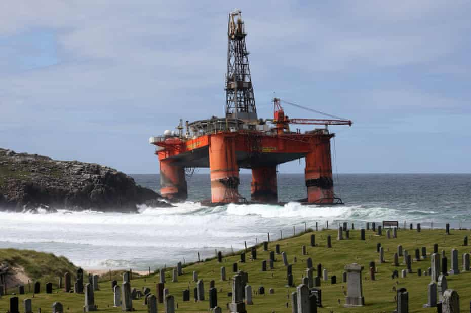 The Transocean Winner drilling rig off the coast of the Isle of Lewis after it ran aground in severe weather conditions. Tuesday August 9, 2016.