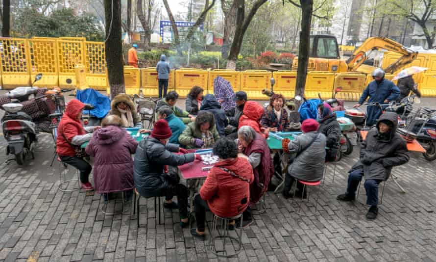 Elderly women play mahjong in Nanjing.
