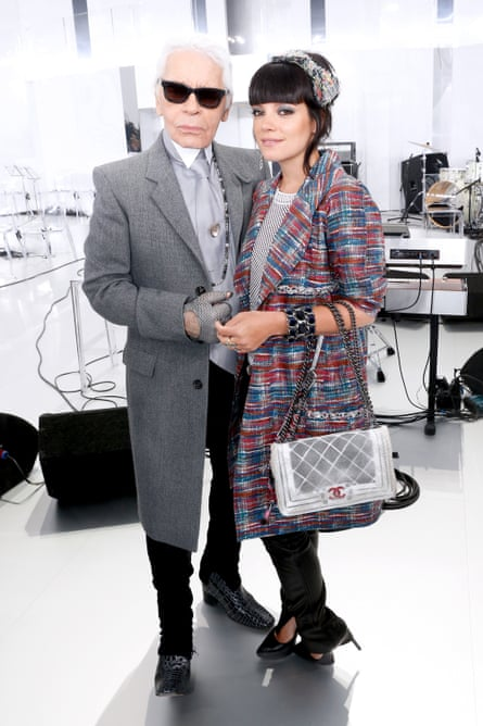 Karl Lagerfeld and Lily Allen in 2014.