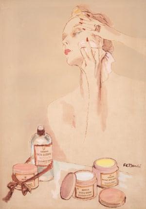 Sketch of model applying makeup