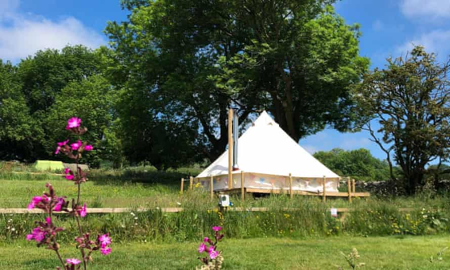 Bell tent in field at Dale Farm Campsite Peak District