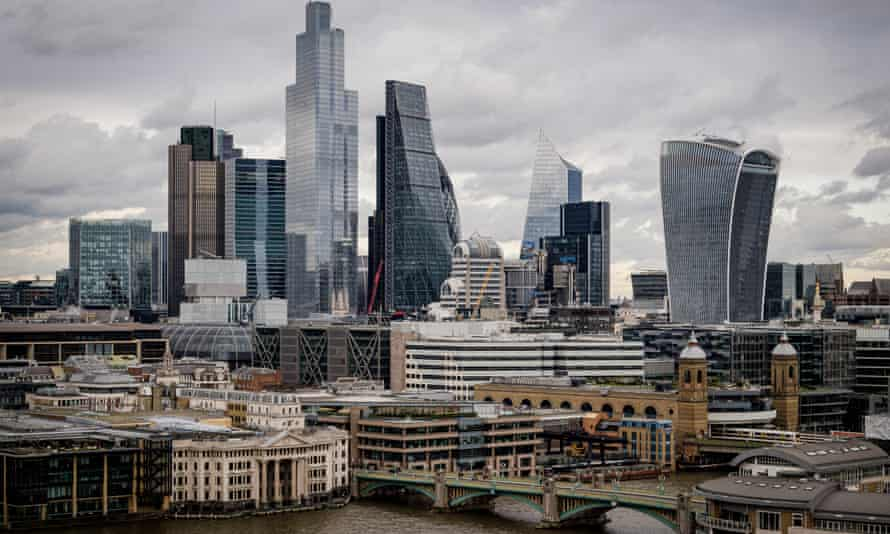 London's financial district, 2020.