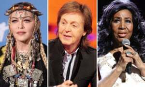 Rock on ... Madonna, Paul McCartney and Aretha Franklin.