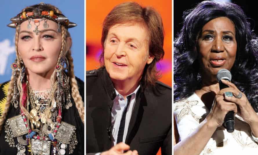 Rock on ... Madonna, Paul McCartney and Aretha Franklin.