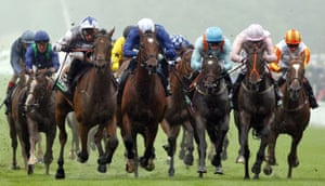 Fayez, with Daniel Tudhope up, (left) beats Setting Sail (centre), who finished third, and Jazeel (right), who finished second, in the opening race of the festival - The Unibet Handicap