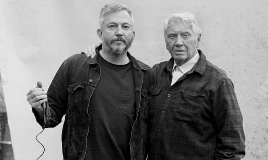 Photographer Giles Duley (left) takes a self-portrait with Don McCullin for the Observer at McCullin's home in Somerset.