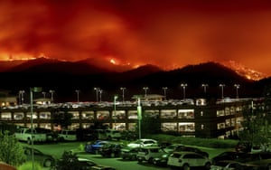 California, US. Flames from a county fire in Yolo burn above Cache Creek Casino resort