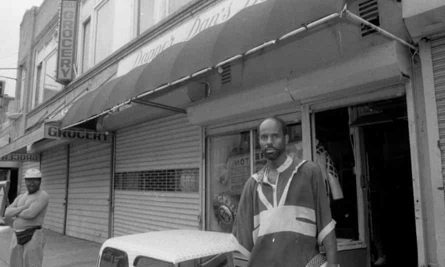 Dapper Dan outside his shop in 1988