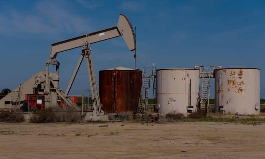An orphan oil well sits abandoned in Kern county, outside Bakersfield, California.