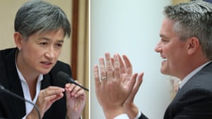 Labor senator Penny Wong demands Mathias Cormann reveal how much taxpayers' money the government will spend on advertising in the lead up to the federal election. The finance minister resisted Wong's line of questioning, resulting in a slinging match between the two senators who began talking and yelling over one another.