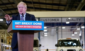 Boris Johnson speaking at the LEVC factory in Coventry.