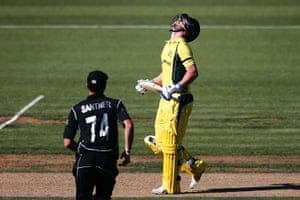 Travis Head looks to the skies after he was dismissed for 53 as Australia stumbled in their chase of New Zealand's 281.