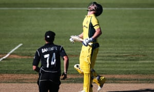 Travis Head looks to the skies after he was dismissed for 53 as Australia failed in their chase of New Zealand's 281.