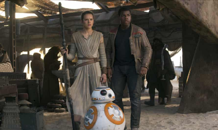 Daisy Ridley and John Boyega in Star Wars: The Force Awakens.