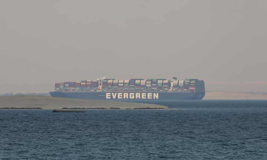 The Ever Given, a Panama-flagged cargo ship, is seen in Egypt's Great Bitter Lake