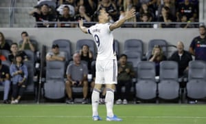 Zlatan Ibrahimovic celebrates another goal for the Galaxy