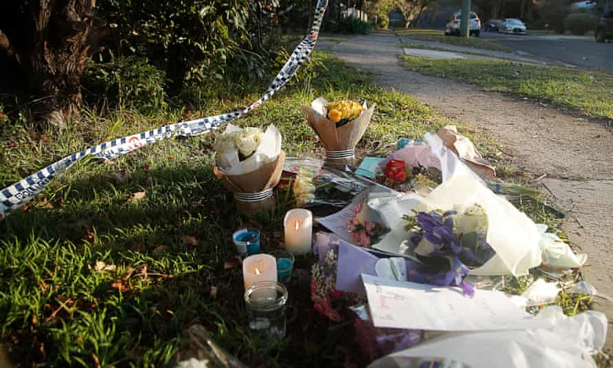 Flowers and tributes in West Pennant Hill after the 2018 killings