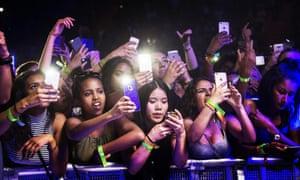 Fans at a Chris Brown concert in Sweden in June
