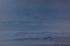 Unnamed Hill, 2018. Wanki Min's photograph shows what appears to be snowfall but, upon closer inspection, is revealed to be a night sky shot through his telescope, superimposed over his photograph of a landscape in Greenland