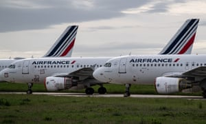 Air France planes parked at Paris Charles de Gaulle airport