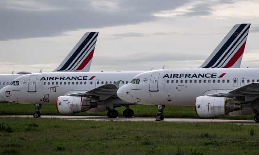 Air France planes parked at Paris Charles de Gaulle airport