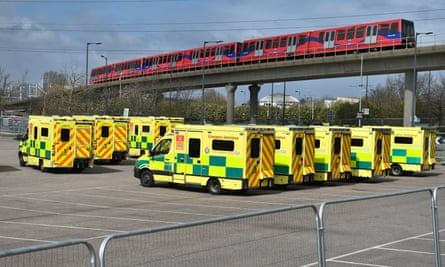 Ambulances at the ExCel centre in London, which is being made into a temporary hospital.