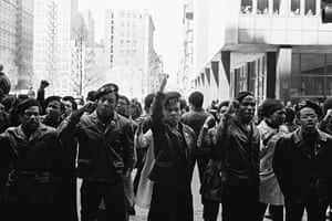 Black Panthers protest outside the New York City courthouse in 1969.