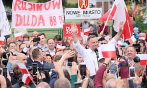 Andrzej Duda meets local residents in the village of Odrzywol, east-central Poland