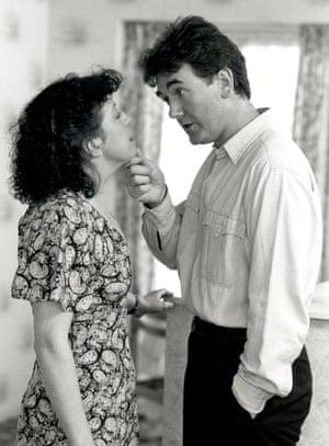 Mandy (Sandra Maitland) and Trevor Jordache (Brian Murray) in Brookside.