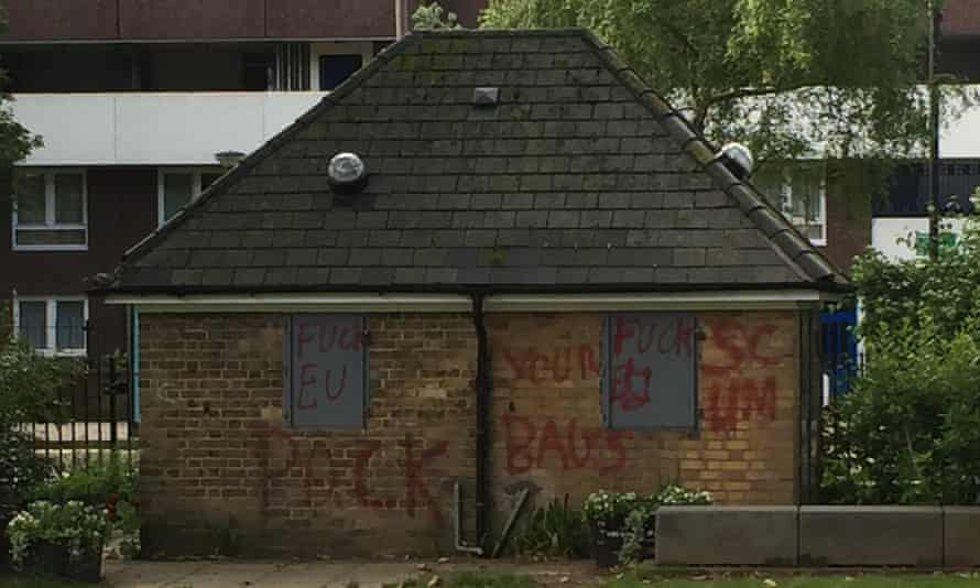 Racist graffiti in Newington Green, London.