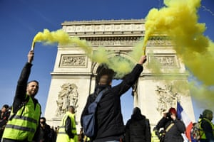 Gilets jaunes protesters gather at the Arc de Triomphe in Paris on 16 February 2019.