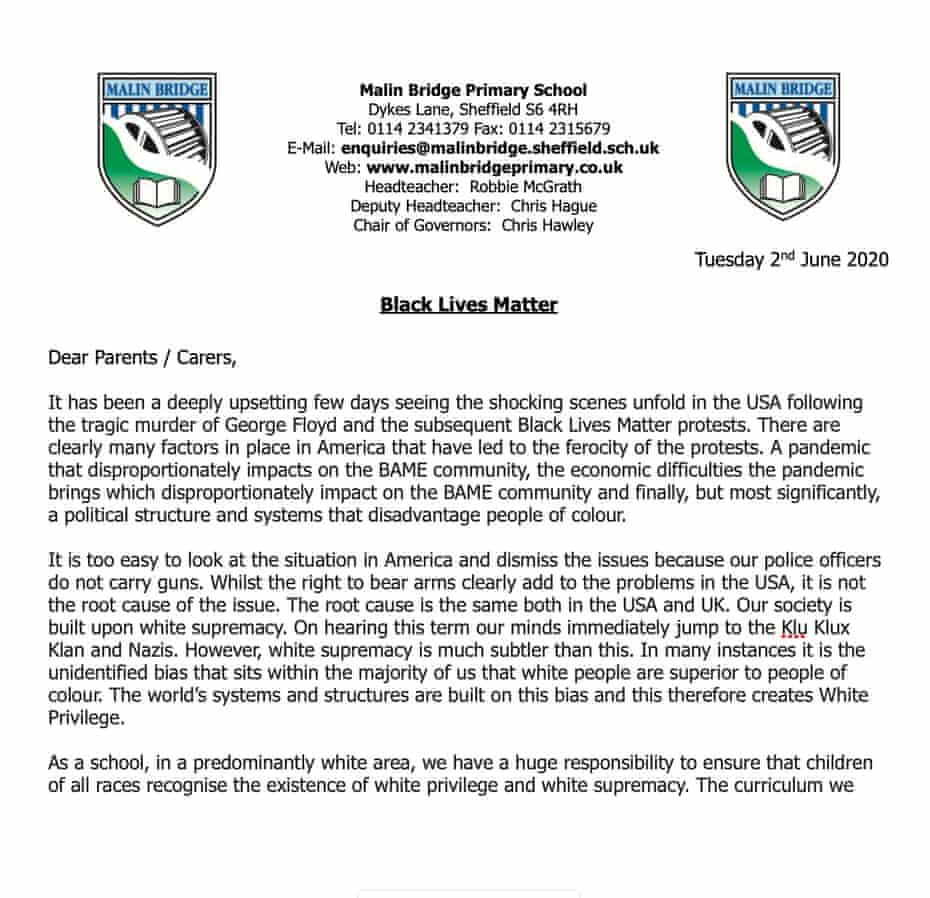 Part of the letter that Robbie McGrath, headteacher at Malin Bridge primary school, sent to parents last week.
