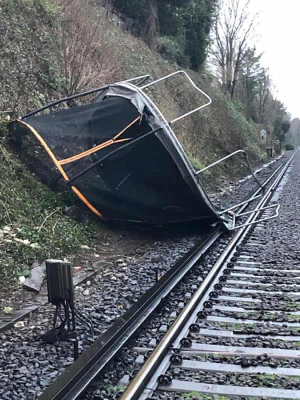 A trampoline on the railway line between Sevenoaks and Orpington.