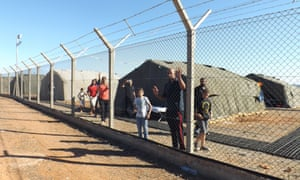 Refugees in detention at the Dhekelia British military base in Cyprus.