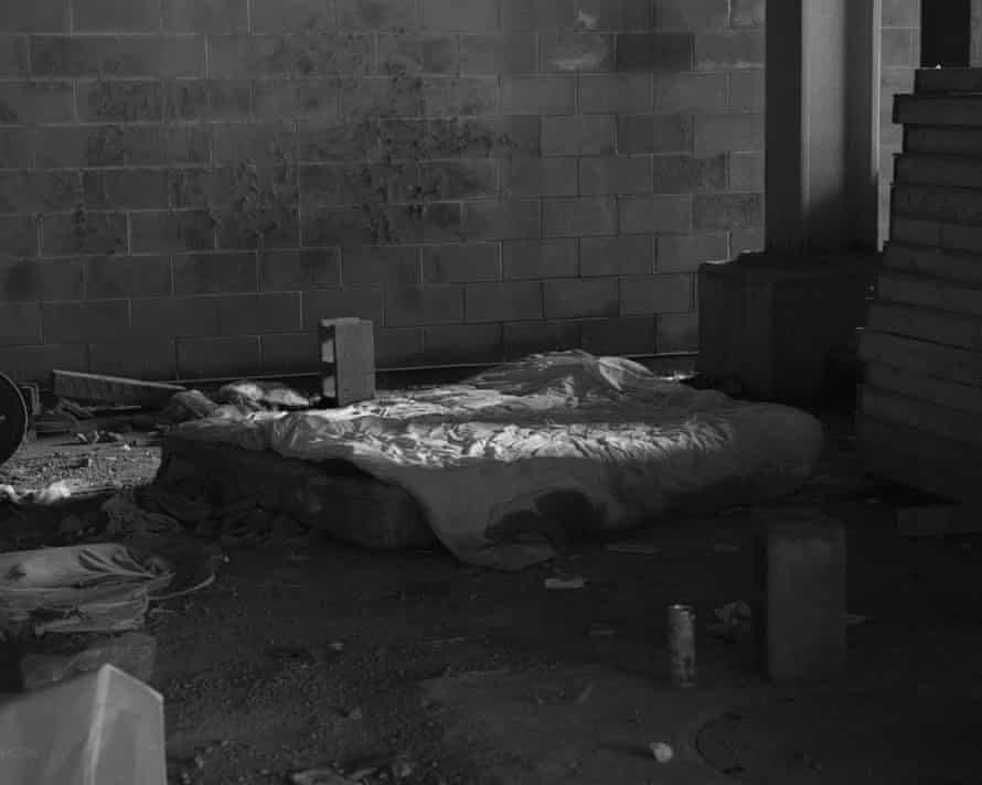 A bed in an underground track for LIRR where many homeless people sleep north of Hudson Yards.