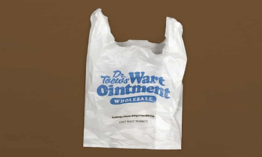 A plastic bag from East West Market.