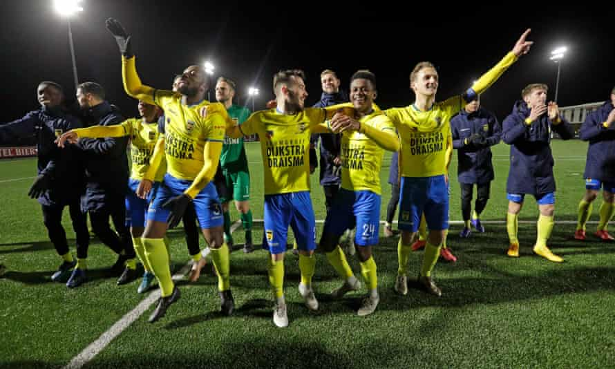 Cambuur players celebrate their victory over Alkmaar II in March just before the coronavirus outbreak.