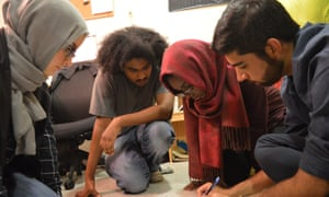 Muslim Stem students working on a project at MIT.
