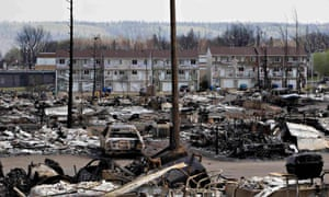 The devastated neighbourhood of Abasand is shown after being ravaged by the wildfire in Fort McMurray.