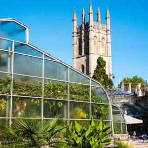 Greenhouse and Magdalen Tower, University of Oxford Botanic Garden, Oxford, Oxfordshire, England, UK.