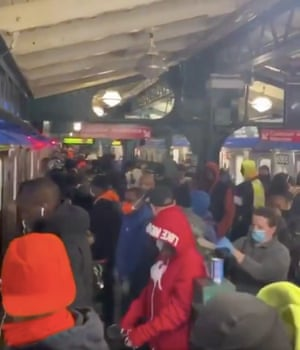 A screen grab of a video showing a crowded subway in New York, NY.