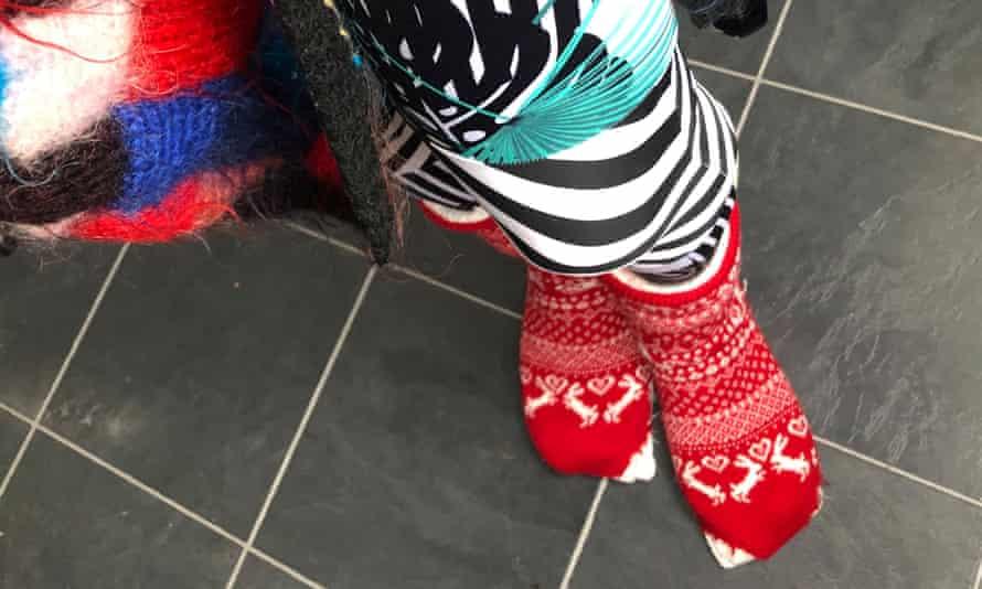 Deborah Hale's Christmas socks.