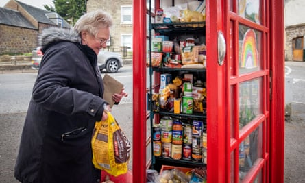 Local residents use the community food larder in Muthill, near Crieff, Perthshire.