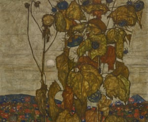 Autumn Sun [Sunflowers], 1914Created only three months prior to the start of the war, this painting is an exemplary demonstration of Schiele's use of line as a tool of demarcation between the forces of life and death.