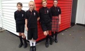 Children from Dunedin North Intermediate Primary wearing the new uniform