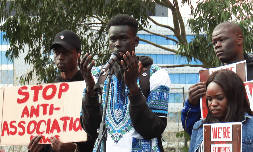 Protesters demonstrating against Seven News' reporting of 'African gangs' claims