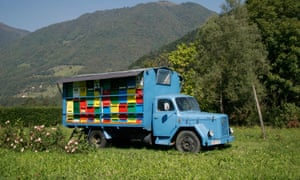 Api days … a mobile beehive apiary on the back of a vintage truck in Slovenia.