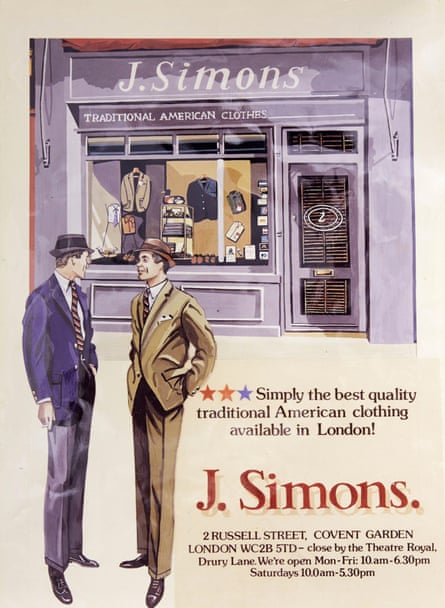 Suits you sir … advert for a Simons shop in Covent Garden, London, which opened in the 1980s.