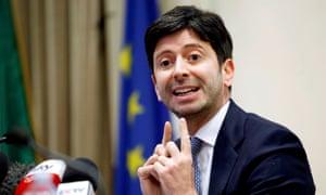 Italian Health Minister Roberto Speranza speaks to reporters in Rome, Italy.