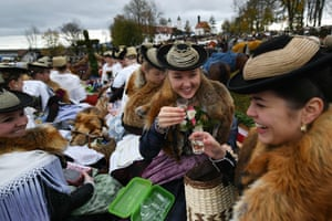 Bad Tölz, GermanyWomen wearing fox fur dresses attend the traditional Leonhardi pilgrimage ride, a procession in honour of St Leonhard, the patron saint of farm animals